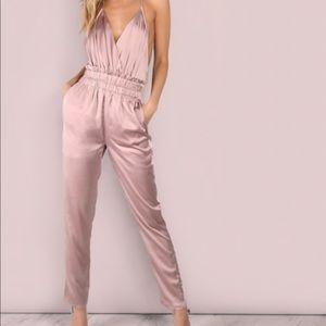 Dresses & Skirts - Dusty Pink V Low Cross Backless Jumpsuit / Romper